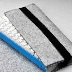 Gray Carrying Pouch with keyboard closeup