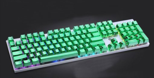 Metallic Green Electroplated Keycaps Close