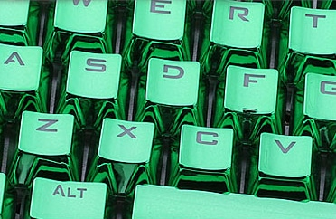 Metallic Green Electroplated Keycaps Close Left