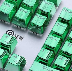 Metallic Green Electroplated Keycaps Close Right