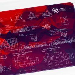 Red Geometric Deskmat Right