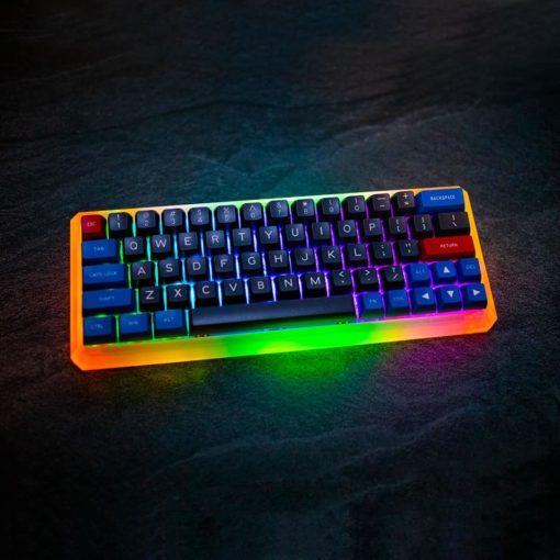 Maxkey Blue and Gray GK64s Orange and Green LEDs