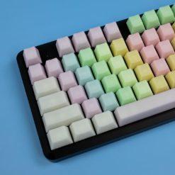 OEM Happy Rainbow POM keycaps on keyboard close