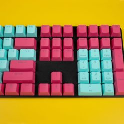 OEM Profile Cyan and Burgundy PBT keycaps 108 keycaps right