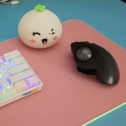 Pink RGB LED Deskmat Mouse