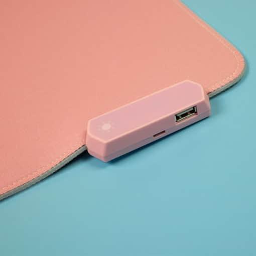 Pink RGB LED Deskmat USB